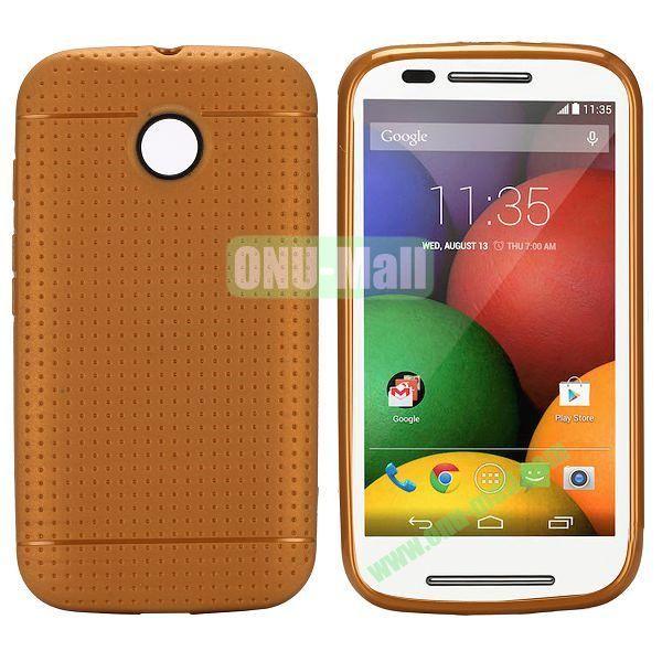 Mesh Design Durable TPU Case for Motorola Moto E XT1021 XT1022 (Coffee)
