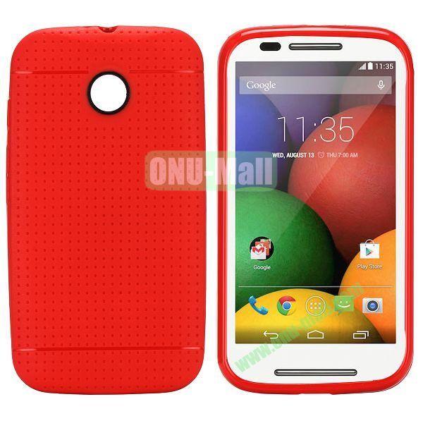 Mesh Design Durable TPU Case for Motorola Moto E XT1021 XT1022 (Red)