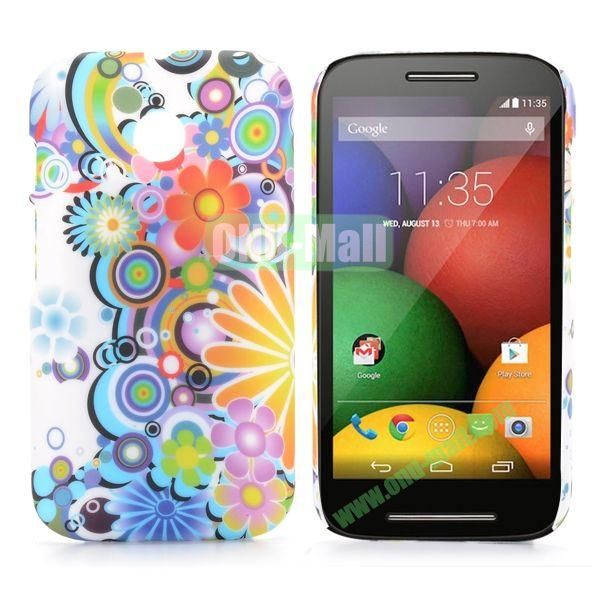 Colorful Flowers Pattern Oil Coated Hard Case for Moto E XT1021 XT1022 XT1025