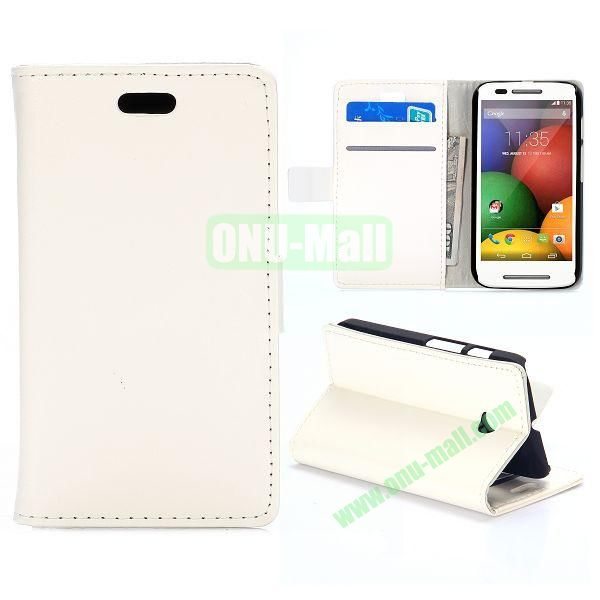 Crazy Horse Texture Flip Stand Leather Case For Motorola Moto E XT1021 Dual SIM XT1022 XT1025 (White)