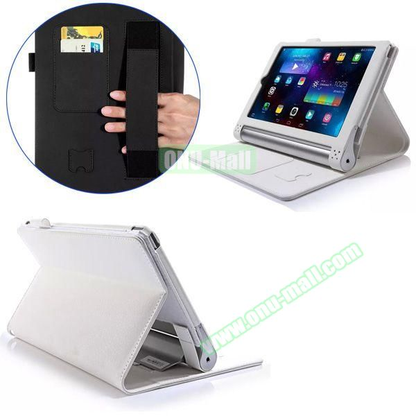 Litchi Texture Flip Stand PU Leather Case for Lenovo Yoga Tablet 2 8 inch with Card Slots and Filco (White)