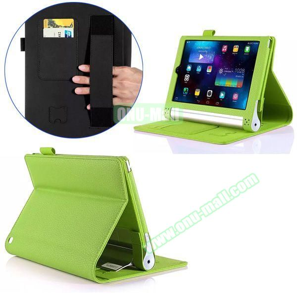 Litchi Texture Flip Stand PU Leather Case for Lenovo Yoga Tablet 2 8 inch with Card Slots and Filco (Green)