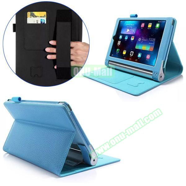 Litchi Texture Flip Stand PU Leather Case for Lenovo Yoga Tablet 2 8 inch with Card Slots and Filco (Blue)