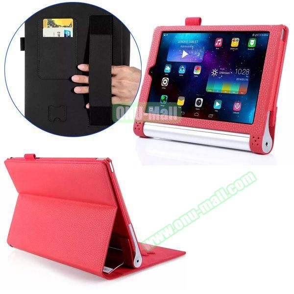 Litchi Texture Flip Stand PU Leather Case for Lenovo Yoga Tablet 2 8 inch with Card Slots and Filco (Red)