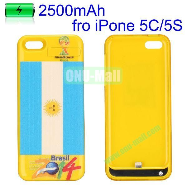 2500mAh 2014 FIFA World Cup Series Power Bank Battery Case for iPhone 5C 5 5S (Argentina Flag)