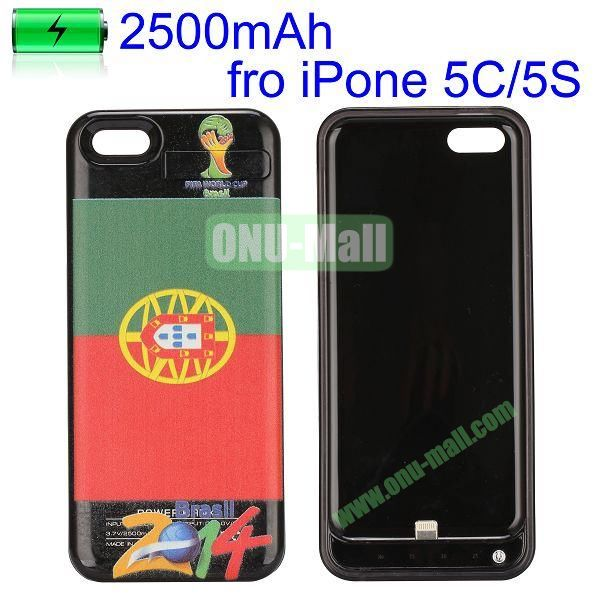 2500mAh 2014 FIFA World Cup Series Power Bank Battery Case for iPhone 5C 5 5S (Portugal flag)