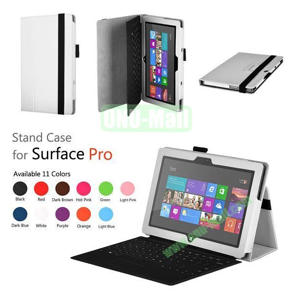 Fashion Leather Case Cover for Microsoft Surface Pro with Stand(White)