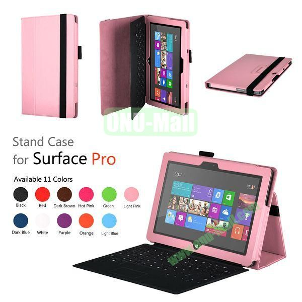 Fashion Leather Case Cover for Microsoft Surface Pro with Stand(Pink)