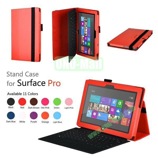 Fashion Leather Case Cover for Microsoft Surface Pro with Stand(Orange)