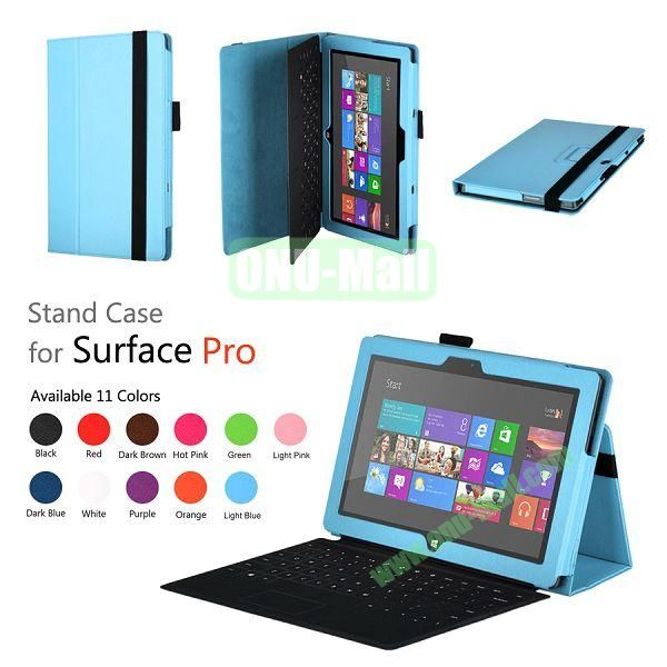 Fashion Leather Case Cover for Microsoft Surface Pro with Stand(Blue)