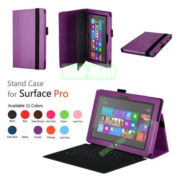 Fashion Leather Case Cover for Microsoft Surface Pro with Stand(Purple)