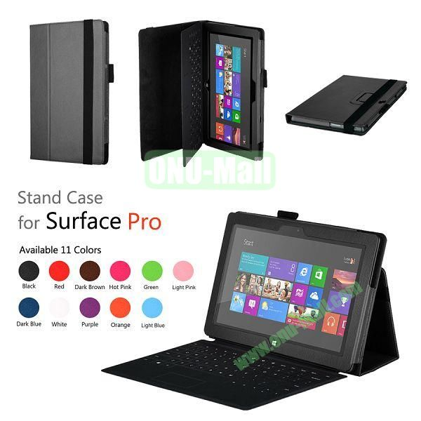 Fashion Leather Case Cover for Microsoft Surface Pro with Stand(Black)