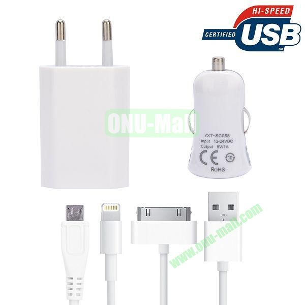 3 in 1 USB Charging Cable + Car Charger Adapter for iPhone 6,Samsang GALAXY S5  I9600,HTC One 2  M8,BlackBerry,iPad,Other Mobile Phone