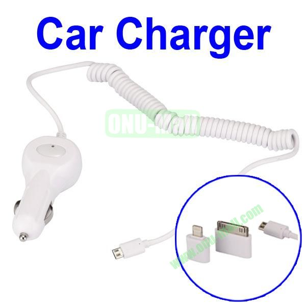 Elastic Cable Power Adapter Car Charger For iPhone Samsung HTC Blackberry Sony Motorola etc With For Apple 30Pin 8Pin Plug And Mocro 5Pin Plug