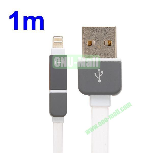 1M Protable 2 in 1 Micro USB+ 8 Pin USB Cable Multi-functional Micro USB8Pin Data Sync Charging Cable for iPhone, Samsung, HTC, Motorola ect (White)