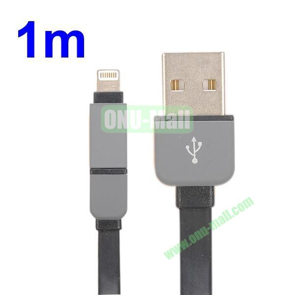 1M Protable 2 in 1 Micro USB+ 8 Pin USB Cable Multi-functional Micro USB8Pin Data Sync Charging Cable for iPhone, Samsung, HTC, Motorola ect (Black)