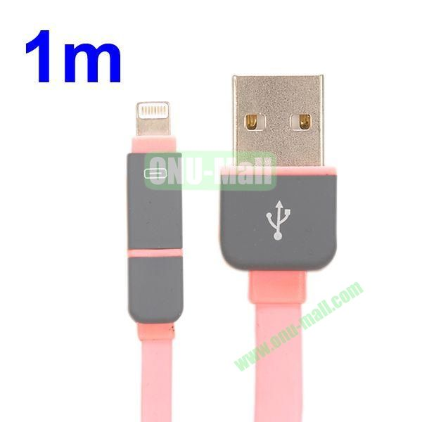 1M Protable 2 in 1 Micro USB+ 8 Pin USB Cable Multi-functional Micro USB8Pin Data Sync Charging Cable for iPhone, Samsung, HTC, Motorola ect (Pink)