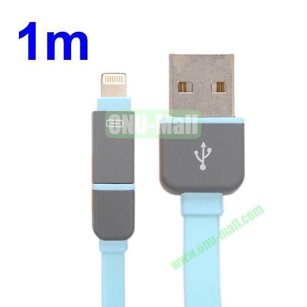 1M Protable 2 in 1 Micro USB+ 8 Pin USB Cable Multi-functional Micro USB8Pin Data Sync Charging Cable for iPhone, Samsung, HTC, Motorola ect (Blue)