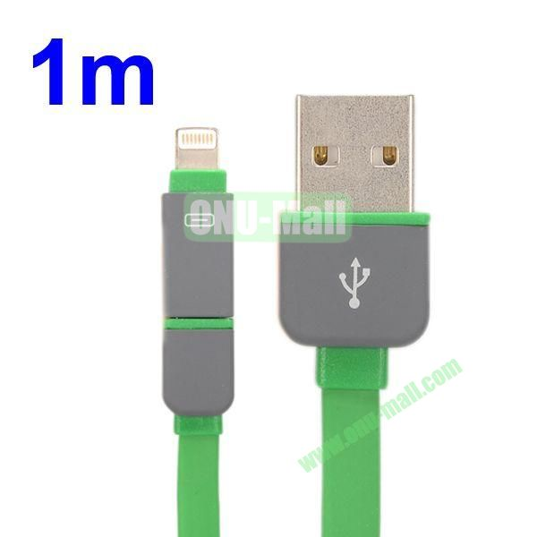 1M Protable 2 in 1 Micro USB+ 8 Pin USB Cable Multi-functional Micro USB8Pin Data Sync Charging Cable for iPhone, Samsung, HTC, Motorola ect (Green)