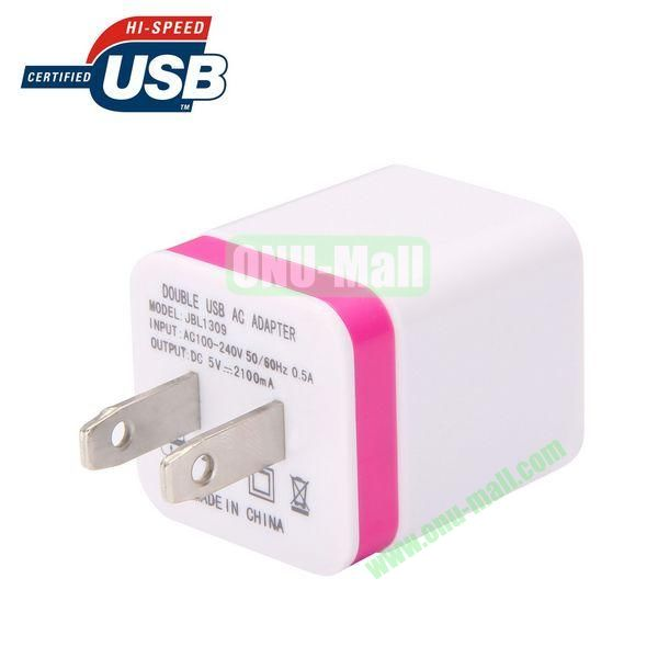 EU Plug Double USB AC Wall Charger Adapter (Rose)