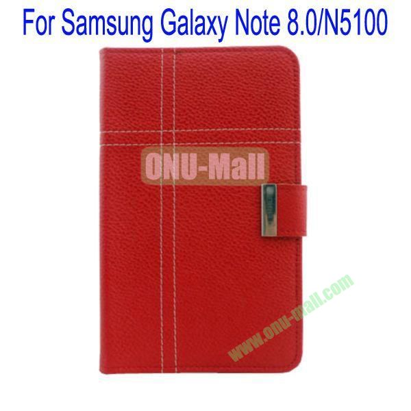 Fashion Litchi Lines Leather Case Cover for Samsung Galaxy Note 8.0N5100 with Card slots and Stand(Red)
