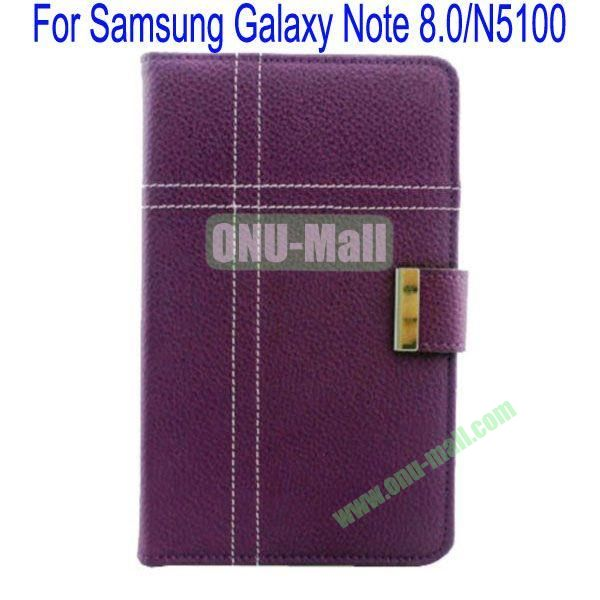 Fashion Litchi Lines Leather Case Cover for Samsung Galaxy Note 8.0N5100 with Card slots and Stand(Purple)
