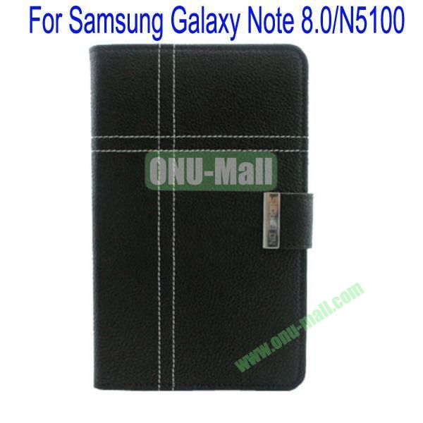 Fashion Litchi Lines Leather Case Cover for Samsung Galaxy Note 8.0N5100 with Card slots and Stand(Black)