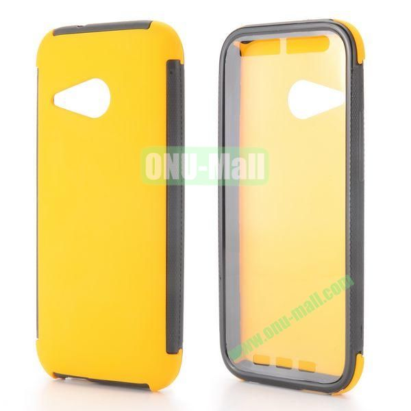 2 in 1 Detachable Oil Coated TPU + PC Hybrid Back Case for HTC One mini 2 M8 mini (Yellow)