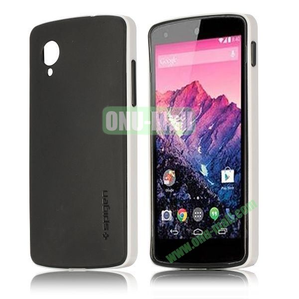 Detachable Hybrid Double Color PC+ TPU Case for LG Nexus 5 (White+Black)