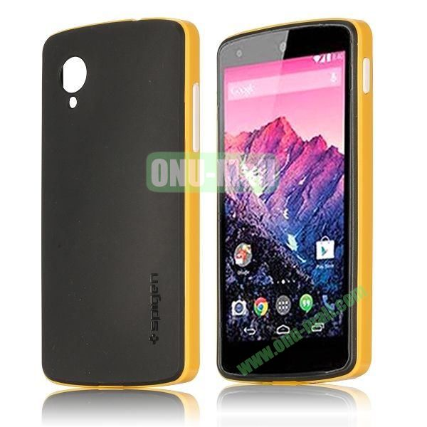 Detachable Hybrid Double Color PC+ TPU Case for LG Nexus 5 (Yellow+Black)