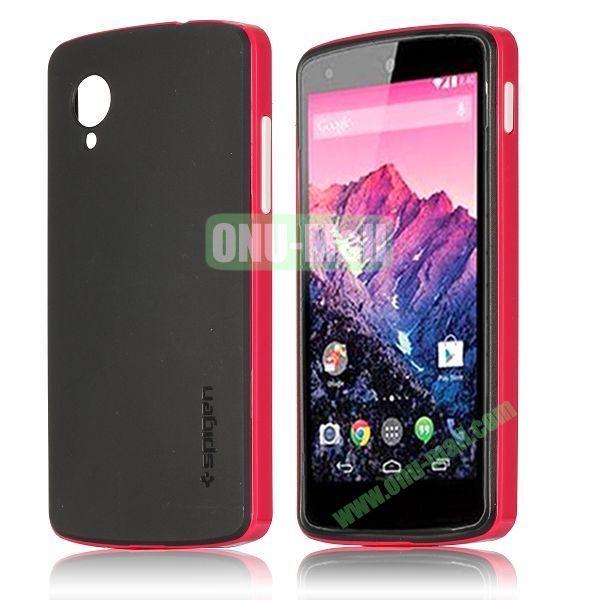 Detachable Hybrid Double Color PC+ TPU Case for LG Nexus 5 (Rose+Black)