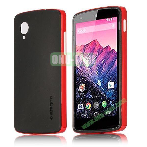 Detachable Hybrid Double Color PC+ TPU Case for LG Nexus 5 (Red+Black)