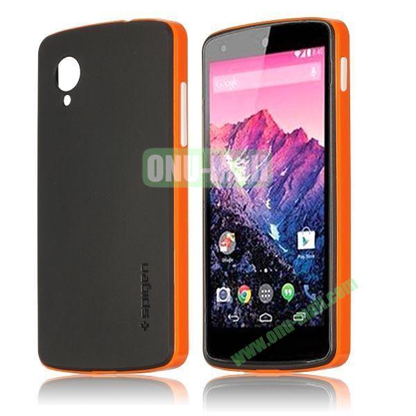 Detachable Hybrid Double Color PC+ TPU Case for LG Nexus 5 (Orange+Black)