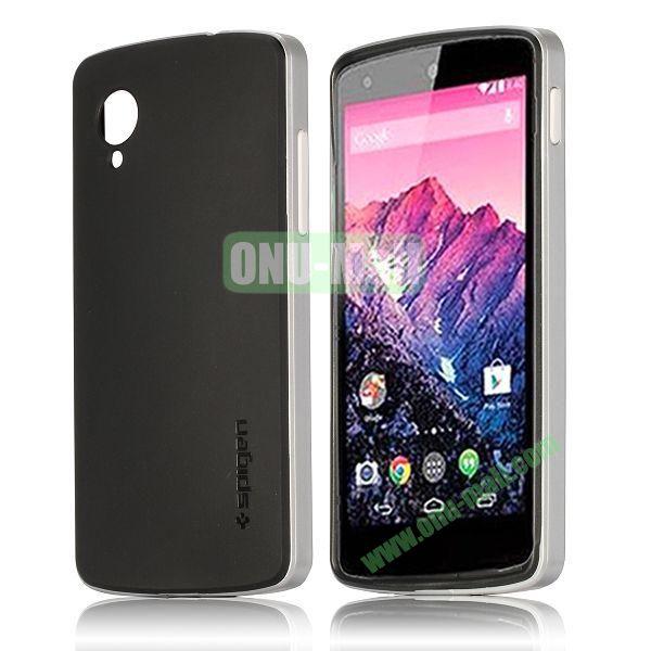 Detachable Hybrid Double Color PC+ TPU Case for LG Nexus 5 (Silver+Black)