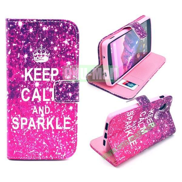 Cross Texture Wallet Magnetic Flip Stand TPU+Leather Case for LG Nexus 5 D820 (Keep Calm and Sparkle Pattern)