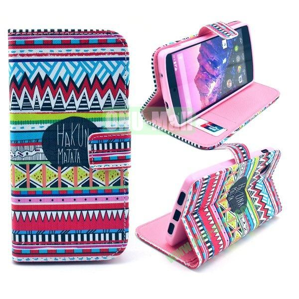 Cross Texture Wallet Magnetic Flip Stand TPU+Leather Case for LG Nexus 5 D820 (Tribal Pattern)