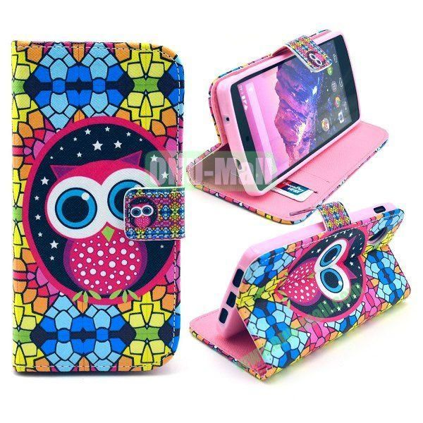 Cross Texture Wallet Magnetic Flip Stand TPU+Leather Case for LG Nexus 5 D820 (Lovely Owl Pattern)