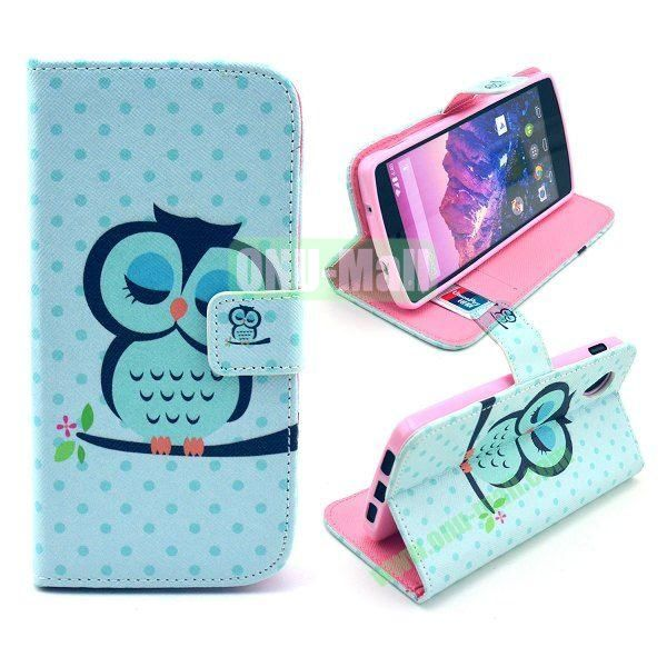 Cross Texture Wallet Magnetic Flip Stand TPU+Leather Case for LG Nexus 5 D820 (Sleeping Owl Pattern)