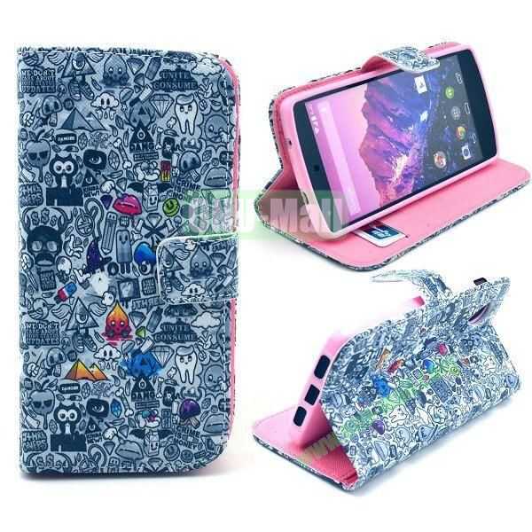 Cross Texture Wallet Magnetic Flip Stand TPU+Leather Case for LG Nexus 5 D820 (Graffiti Pattern)