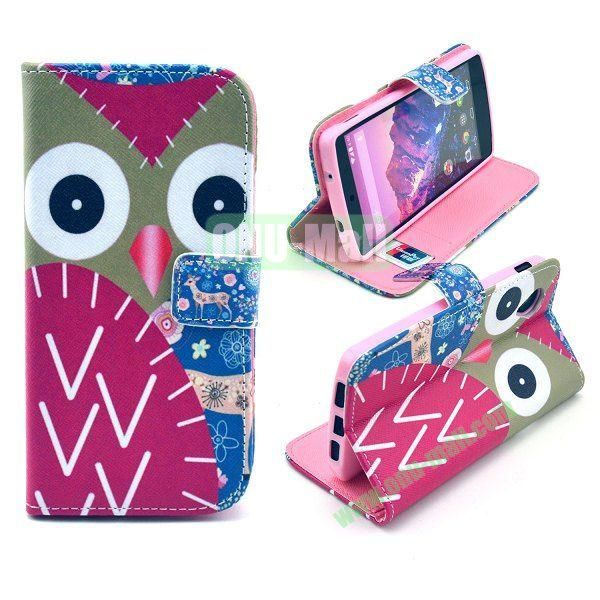 Cross Texture Wallet Magnetic Flip Stand TPU+Leather Case for LG Nexus 5 D820 (Owl Pattern)
