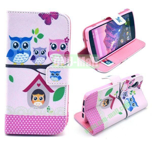 Cross Texture Wallet Magnetic Flip Stand TPU+Leather Case for LG Nexus 5 D820 (Owls Pattern)
