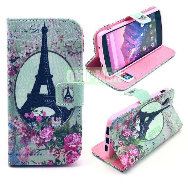 Cross Texture Wallet Magnetic Flip Stand TPU+Leather Case for LG Nexus 5 D820 (Eiffel Tower Pattern)