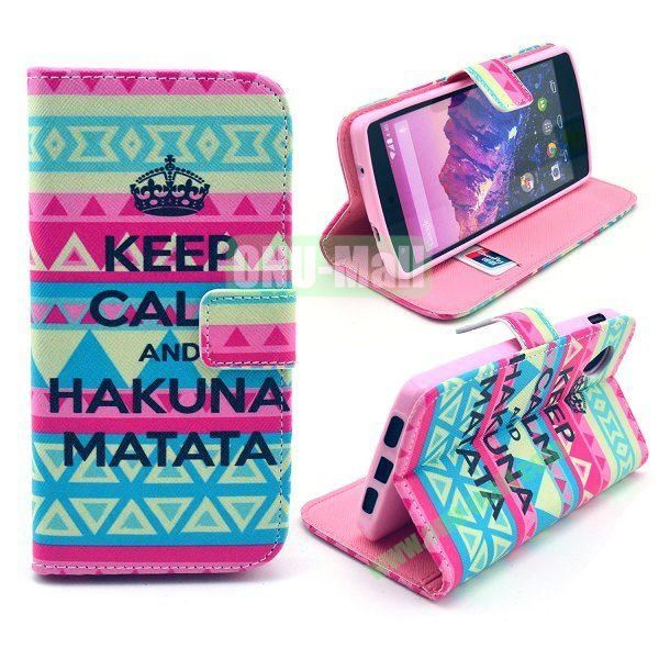 Cross Texture Wallet Magnetic Flip Stand TPU+Leather Case for LG Nexus 5 D820 (Tribe Pattern)