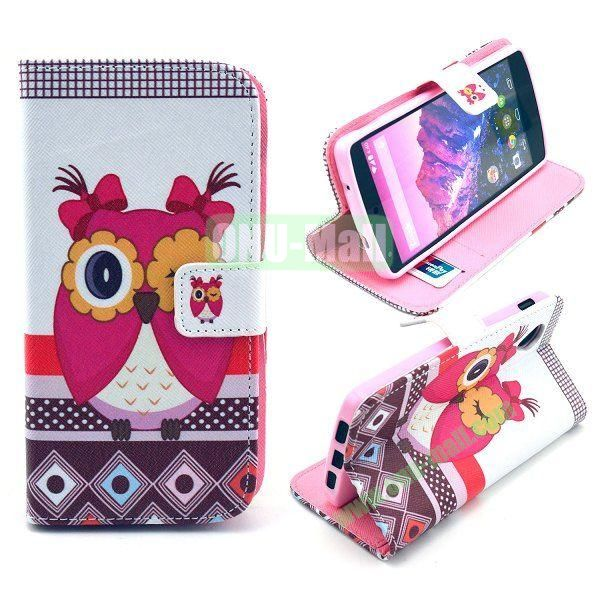 Cross Texture Wallet Magnetic Flip Stand TPU+Leather Case for LG Nexus 5 D820 (Rose Owl Pattern)