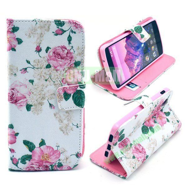Cross Texture Wallet Magnetic Flip Stand TPU+Leather Case for LG Nexus 5 D820 (Pink Flowers Pattern)
