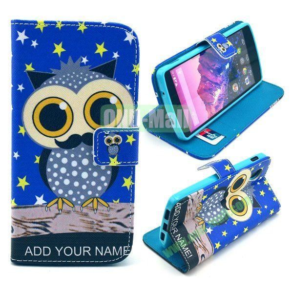 Cross Texture Wallet Magnetic Flip Stand TPU+Leather Case for LG Nexus 5 D820 (Blue Owl Pattern)