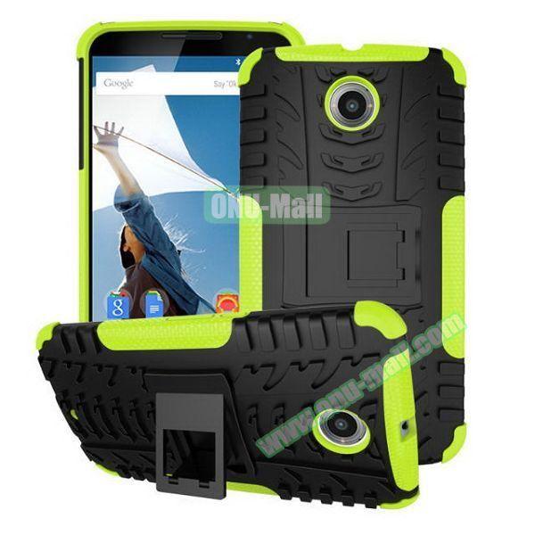 Antiskid Tyre Texture Heavy-duty Hybrid PC and TPU Case for Google/ Motorola Nexus 6 with Kickstand (Green)