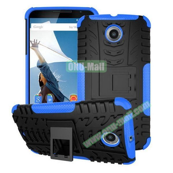 Antiskid Tyre Texture Heavy-duty Hybrid PC and TPU Case for Google/ Motorola Nexus 6 with Kickstand (Blue)