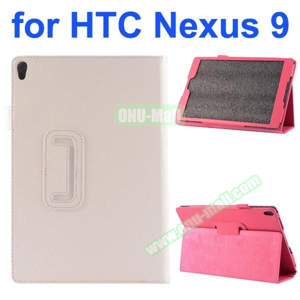 Litchi Texture Flip Stand PU Leather Case for HTC Nexus 9 (White)