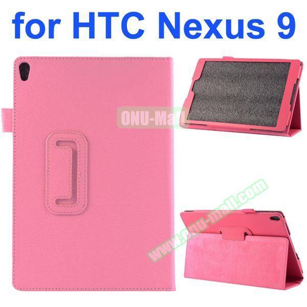 Litchi Texture Flip Stand PU Leather Case for HTC Nexus 9 (Pink)